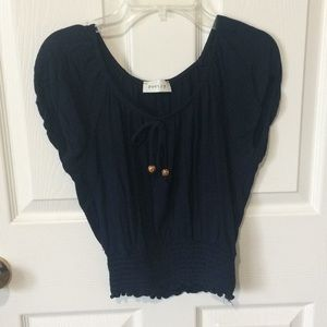 Navy blue crop shirt